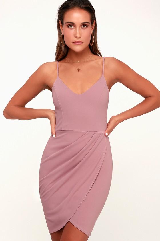 46672ecf969 Sexy Mauve Pink Dress - Bodycon Dress - Wrap Dress - Pink Dress