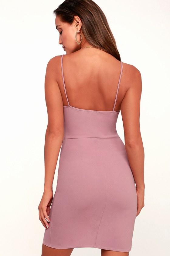 458ddf8526e4 Sexy Mauve Pink Dress - Bodycon Dress - Wrap Dress - Pink Dress