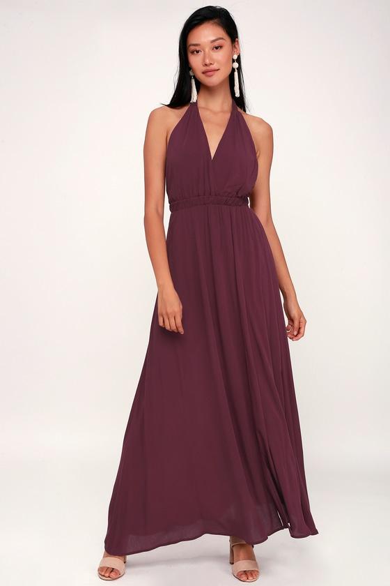 f9b854885cf Plum Purple Dress - Halter Dress - Maxi Dress - Casual Maxi Dress