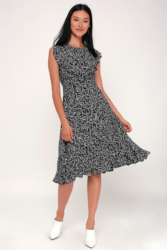 826785dde6 Lovely Black and White Print Dress - Midi Dress - Ruffle Dress