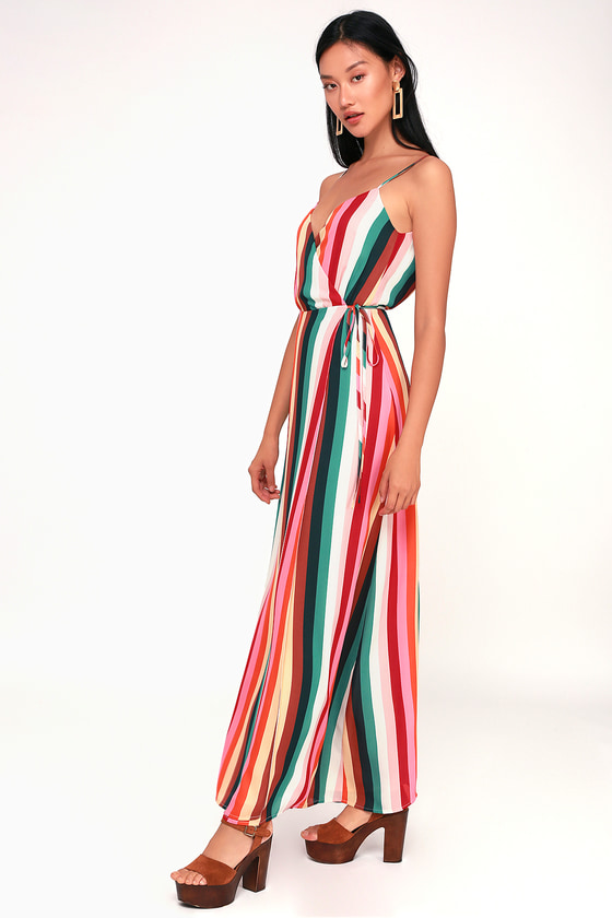 509234e44dc Cute Striped Dress - Maxi Dress - Sleeveless Dress - Wrap Dress