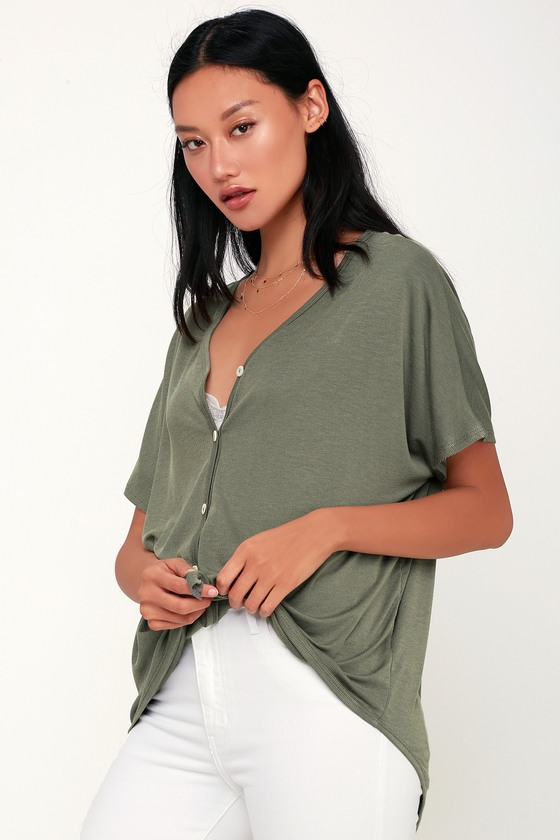 2b4402330fa3f9 Cute Washed Olive Green Top - Ribbed Button-Up Top - Dolman Top