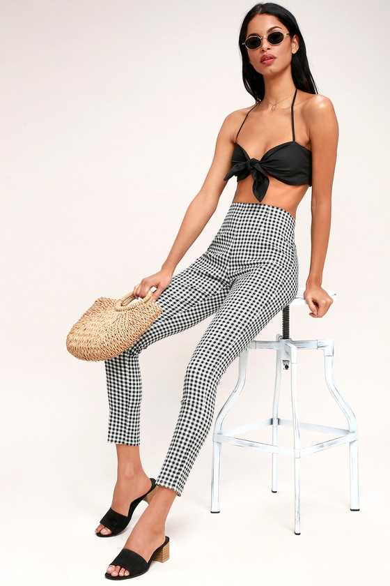 Vintage High Waisted Trousers, Sailor Pants, Jeans Plaid Reputation Black and White Gingham High-Waisted Pants - Lulus $59.00 AT vintagedancer.com