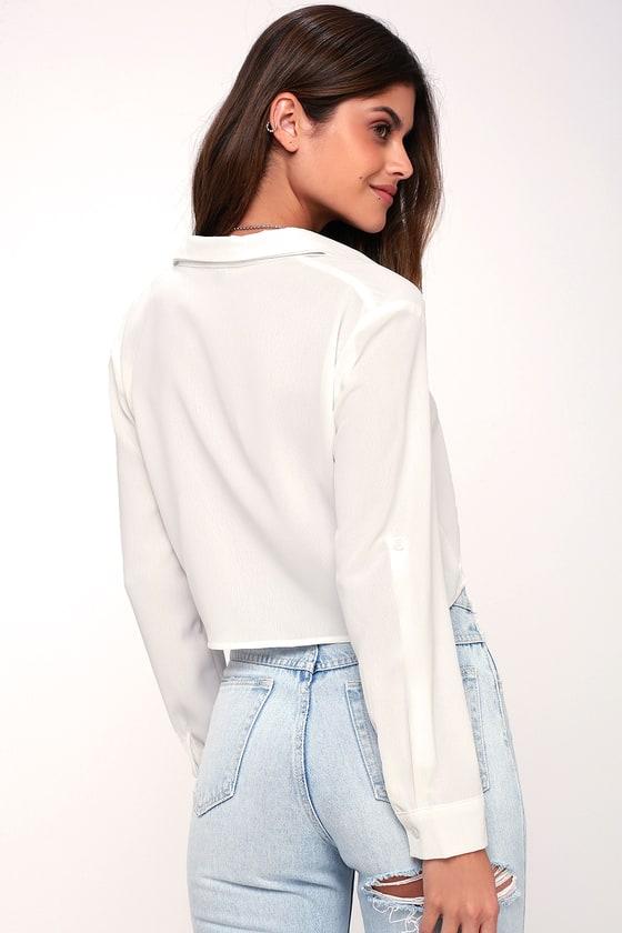 0e56a807d5 White Top - Button-Up Crop Top - Tie-Front Crop Top