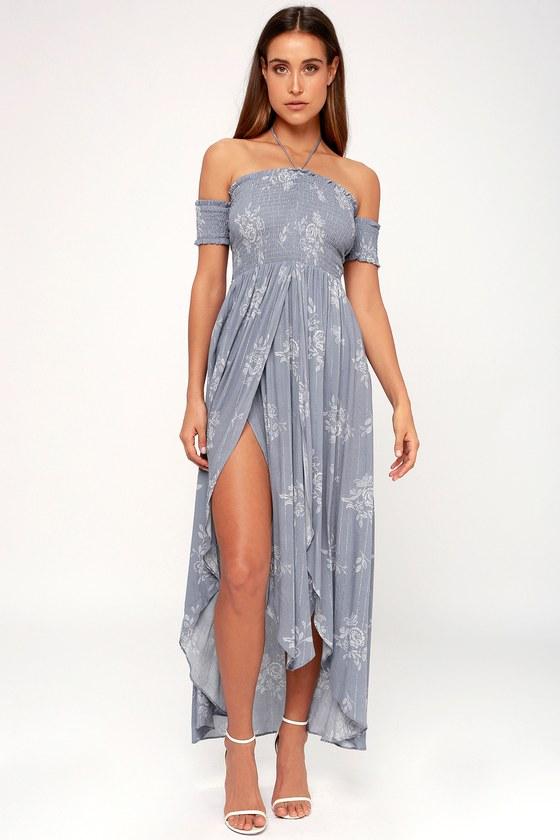 aff2ce72377 Sage the Label Daydream - Blue Grey Floral Print Midi Dress