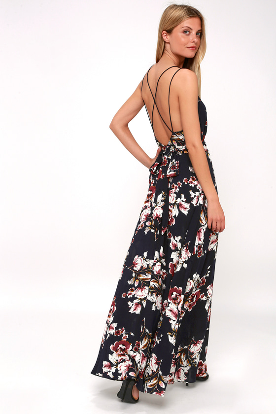 aeb47ff7aacb Pretty Midnight Blue Floral Print Maxi - Blue Backless Maxi Dress