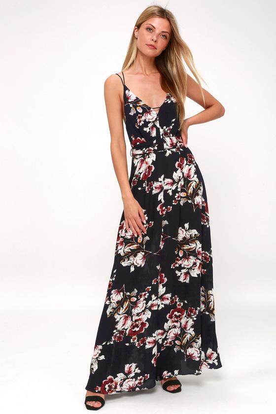 7896b7b116967 Pretty Midnight Blue Floral Print Maxi - Blue Backless Maxi Dress