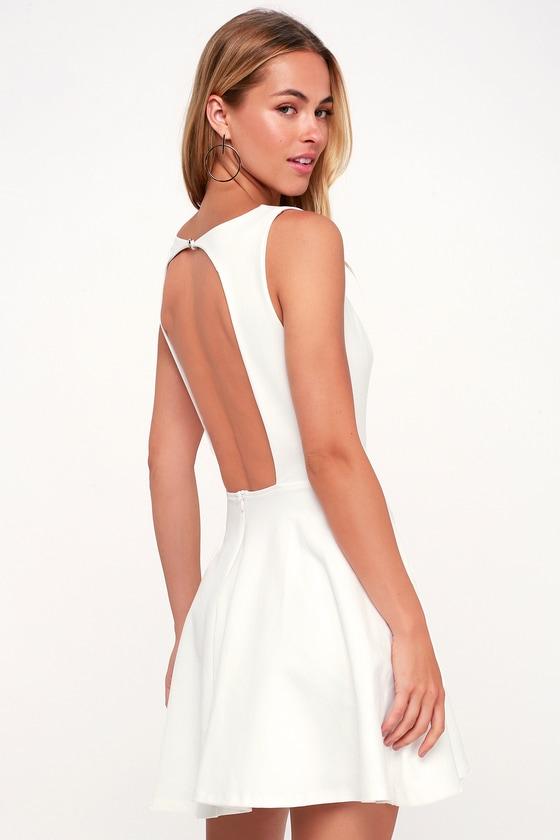 593331a8525f Cute White Dress - Backless Dress - Backless Skater Dress - LWD