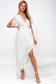 magic moment white wrap maxi dress