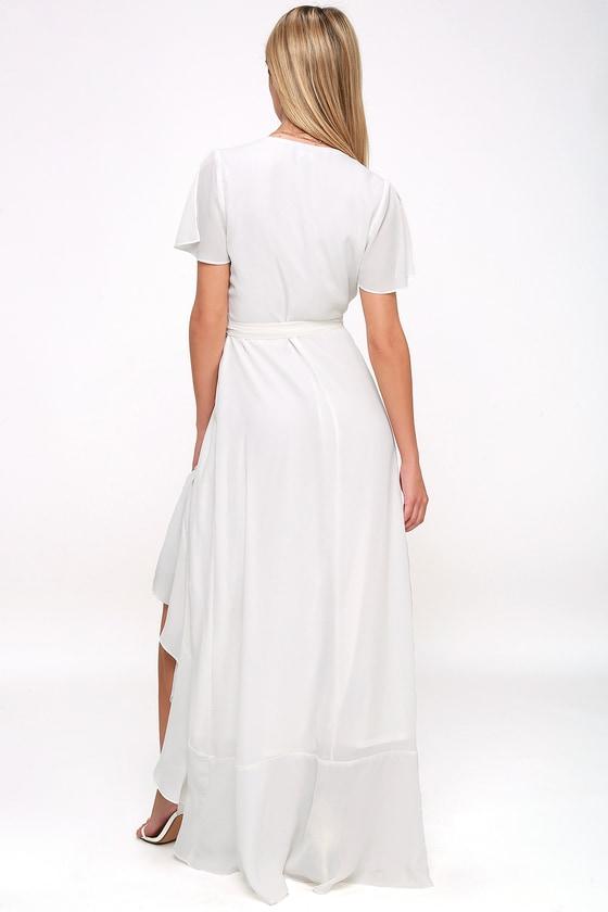 58f27b25b Lovely White Maxi Dress - Wrap Dress - Short Sleeve Dress