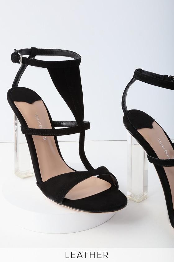 Tony Bianco Kam - Black Kid Suede Leather Heels - Lucite Heels