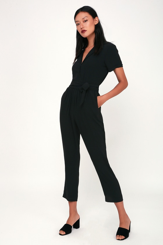 ac814a503be Cute Black Jumpsuit - Short Sleeve Jumpsuit - Classic Jumpsuit