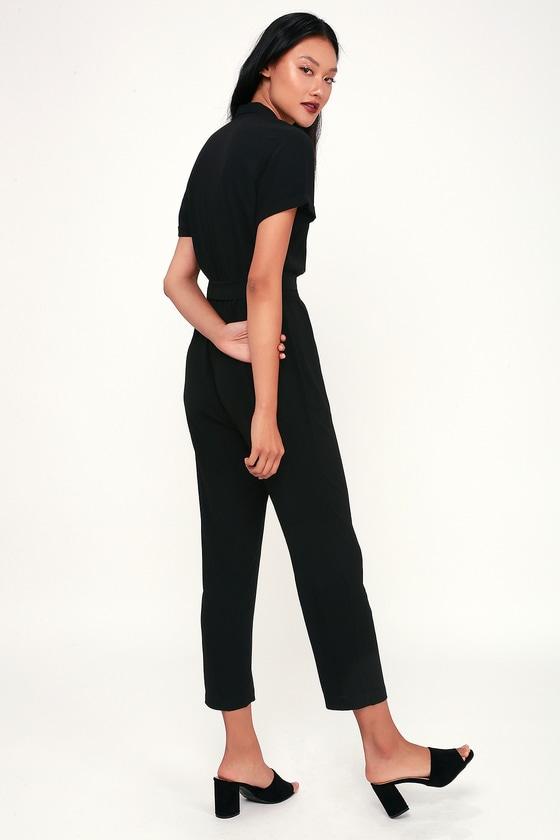 5cd948af3a Cute Black Jumpsuit - Short Sleeve Jumpsuit - Classic Jumpsuit