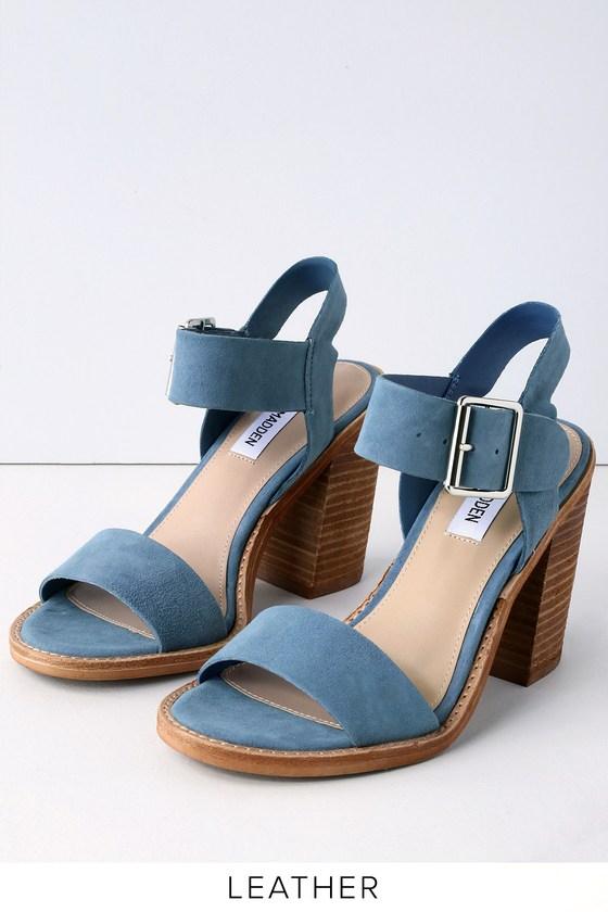 9b6d3d2d588 Steve Madden Castro - Blue Sandals - Blue Suede Leather Sandals
