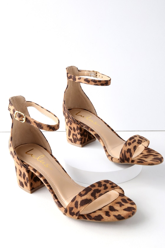 19f6057d0 Chic Leopard Sandals - Single Sole Heels - Block Heels