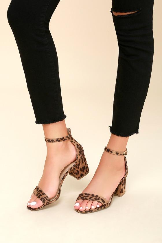 740034bacbc Chic Leopard Sandals - Single Sole Heels - Block Heels