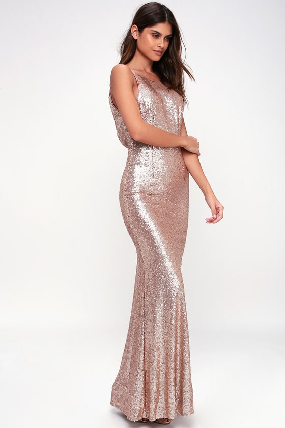 outlet for sale superior performance 100% quality quarantee Chic Celebration Champagne Sequin Maxi Dress