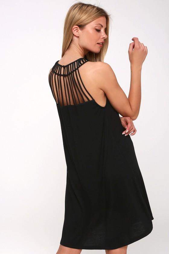 f681a27083424 Chic Black Dress - Sleeveless Swing Dress - Lattice Dress
