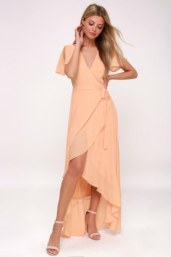 cf4c35b2e12 Lovely Blush Maxi Dress - Wrap Dress - Short Sleeve Dress