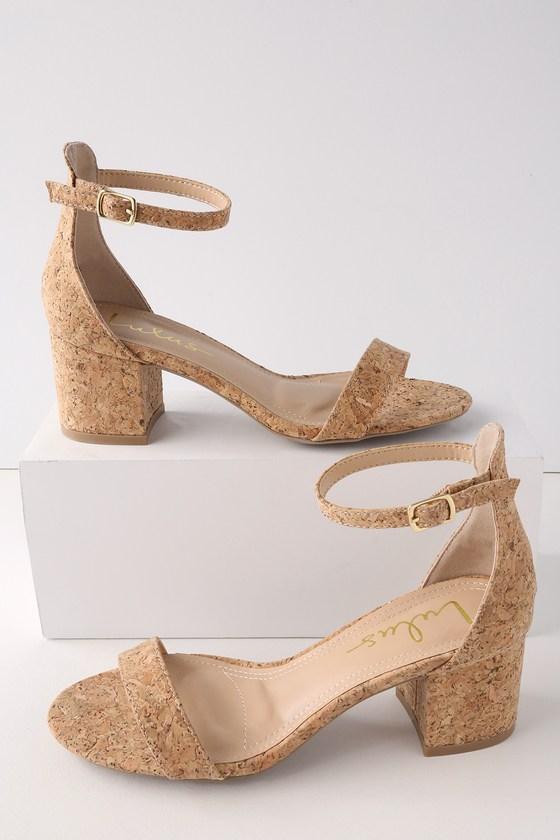 89fc49ae64ab Cute Cork Heels - Ankle Strap Heels - Low Block Heels