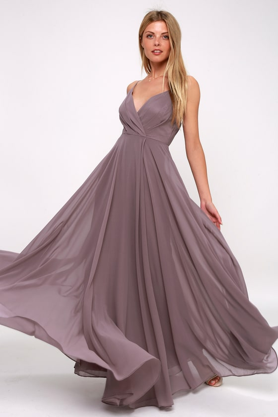 Stunning Dusty Purple Maxi Dress - Gown - Bridesmaid Dress 928328b52