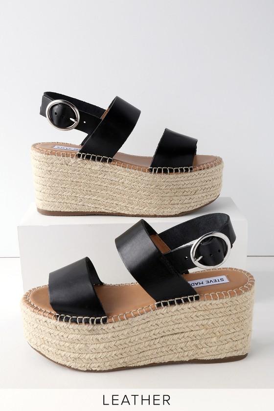 12c63a0c3a Steve Madden Cali - Leather Platform Sandals - Black Sandals