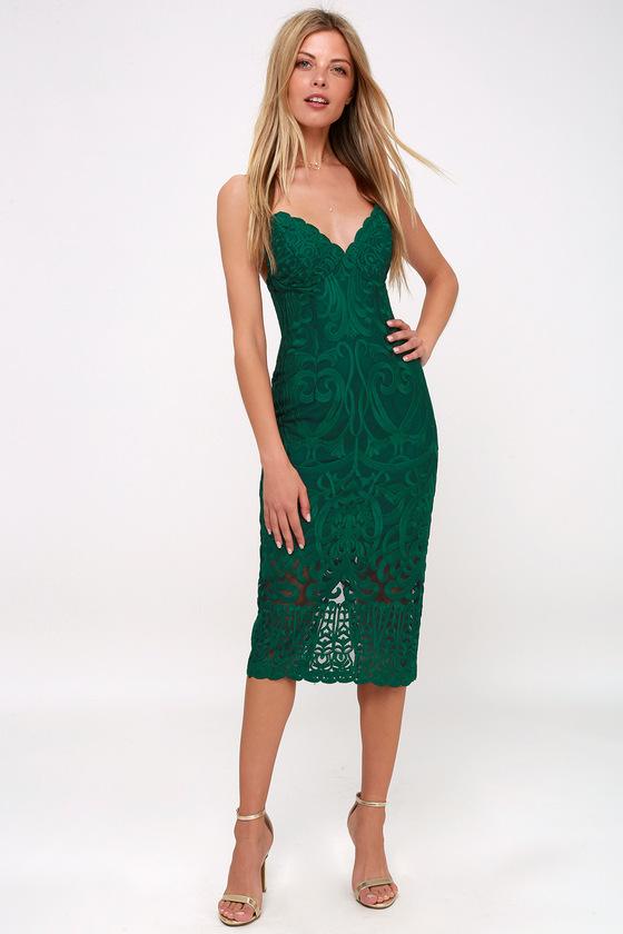 Bardot Gia - Forest Green Lace Dress - Bodycon Midi Dress 47c12c077