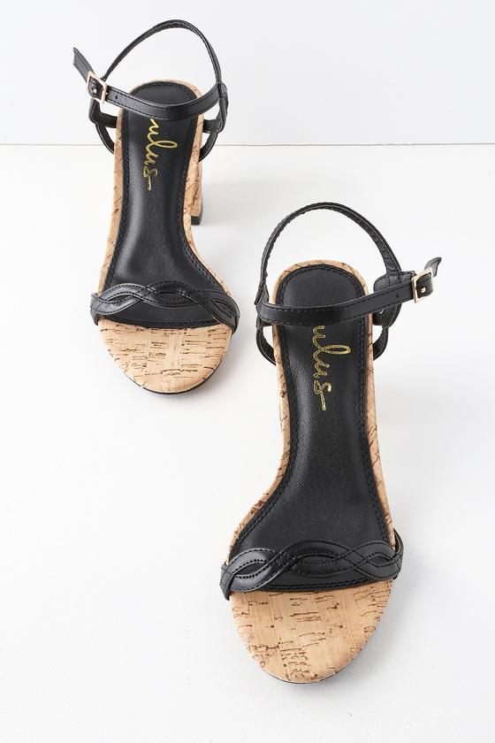 4347132e4f9 Chic Black Heels - Cork Heels - Cork Ankle Strap Heels