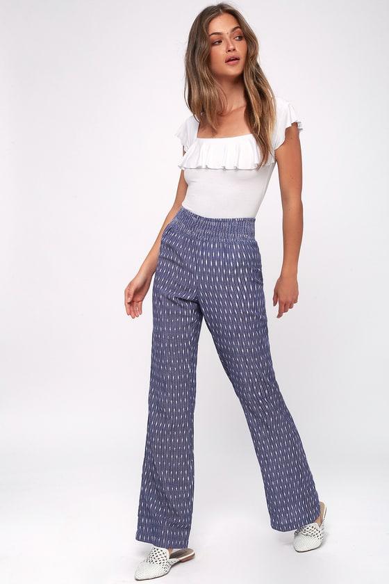 60s – 70s Pants, Jeans, Hippie, Bell Bottoms, Jumpsuits Lyric Blue Print Pants - Lulus $46.00 AT vintagedancer.com