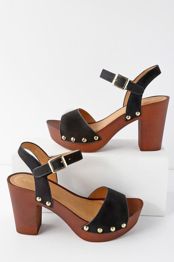 79a64f4fbaff Retro Black Sandals - Platform Sandals - Wood-Look Sandals