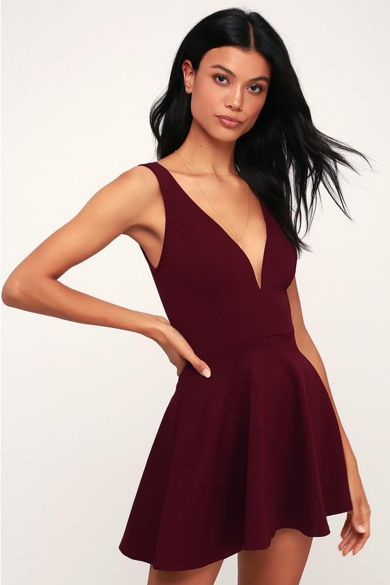 Burgundy Skort Dress - Skater Dress - Burgundy Romper abe9dda6c