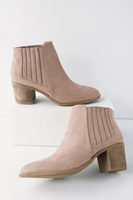 Shasta Taupe Suede Ankle Booties - Trendy Womens shoes