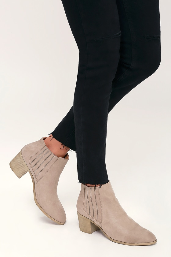 Chic Taupe Boots - Vegan Suede Booties
