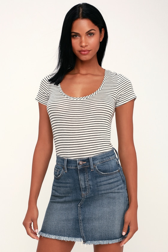 ef5f2a4653 Cute Medium Wash Skirt - Denim Mini Skirt - Frayed Denim Mini