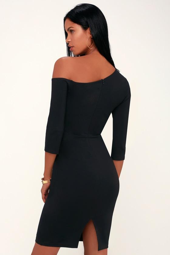 056bf691729 Cute Black Dress - Black Bodycon Dress - Off-the-Shoulder Dress