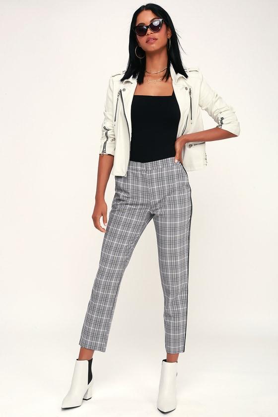 60s – 70s Pants, Jeans, Hippie, Bell Bottoms, Jumpsuits Across the Pond Black and White Plaid Side Stripe Trouser Pants - Lulus $48.00 AT vintagedancer.com