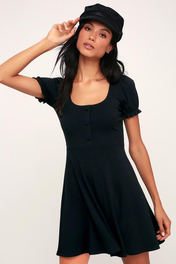 f45ee22ec1b Cute Ribbed Dress - Causal Black Dress - Short Sleeve Dress