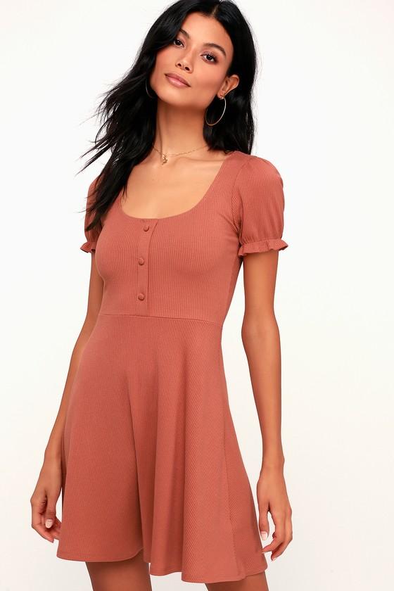 262b5be42da7 Cute Ribbed Dress - Causal Rusty Rose Dress - Short Sleeve Dress