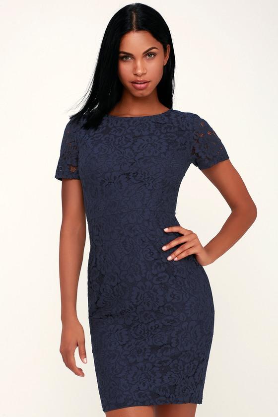 d51d17f498f9b Chic Navy Blue Dress - Blue Lace Dress - Blue Sheath Dress