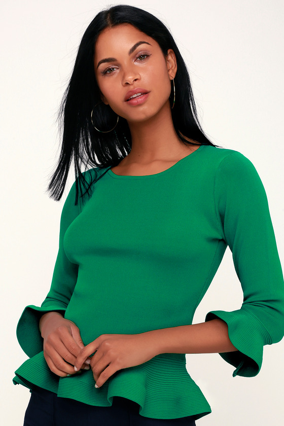 4d1f4a0f370 Chic Green Peplum Top - Ribbed Knit Top - Flounce Sleeve Top