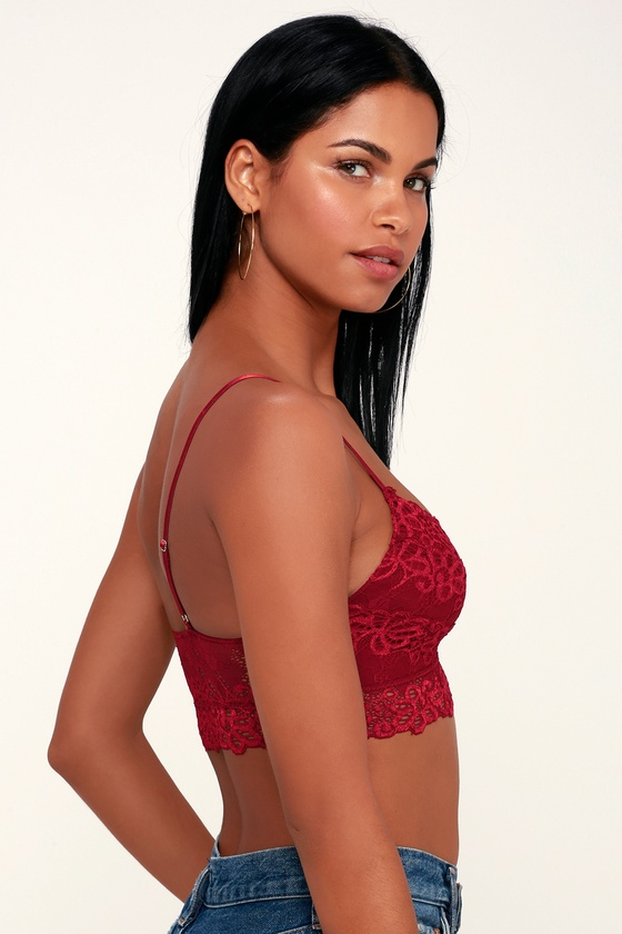 96749eb0040 Cute Lace Bralette - Wine Red Bralette - Lacy Wine Red Bralette