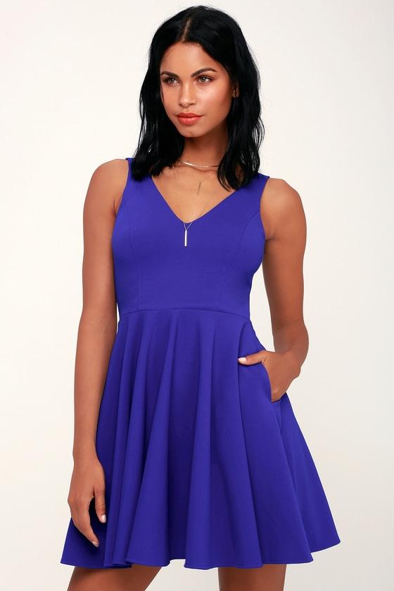 6c016b08fdd485 Cute Royal Blue Dress - Party Dress - Royal Blue Skater Dress