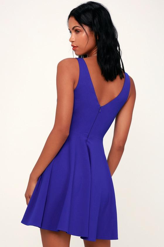 9317f0927b Cute Royal Blue Dress - Party Dress - Royal Blue Skater Dress