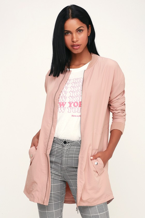 Monticello Light Mauve Longline Bomber Jacket - Lulus