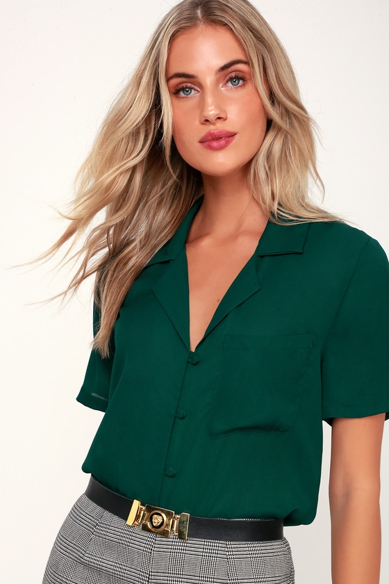 1940s Blouses and Tops Good Luck Charm Dark Green Short Sleeve Button-Up Top  Lulus $42.00 AT vintagedancer.com