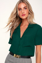 Chic Dark Green Top - Long Sleeve Top - Deep V Top -  44.00 d7a3afd06