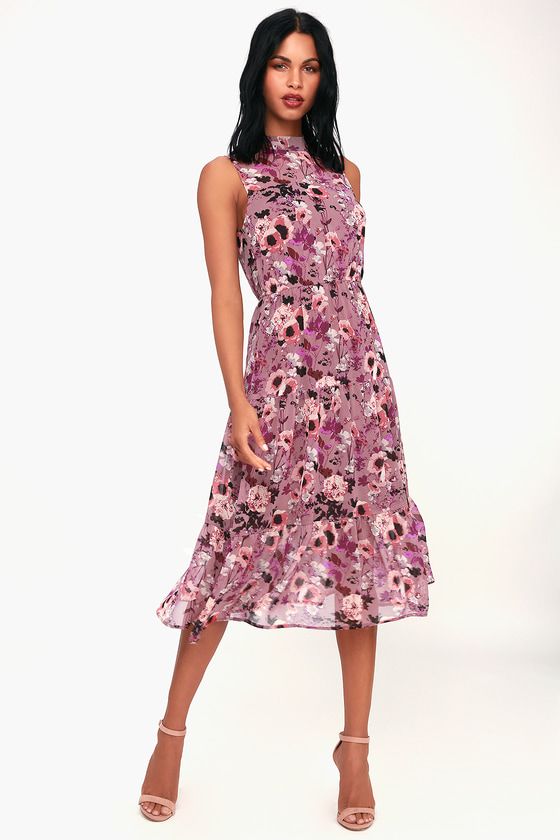 In My Dreams Mauve Floral Print Midi Dress - Lulus