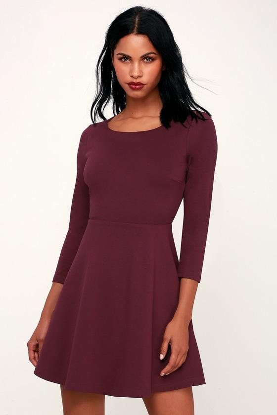 ba0d1dda780c Cute Skater Dress - Plum Purple Skater Dress - Backless Dress