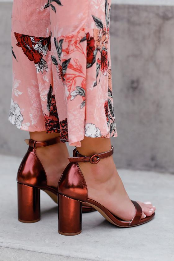 9cd4afc98132 Stylish Copper Heels - Vegan Leather Heels - Single Sole Heels