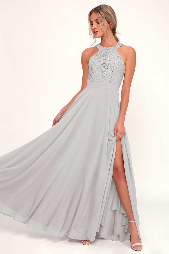Picture Perfect Light Grey Lace Maxi Dress - Lulus